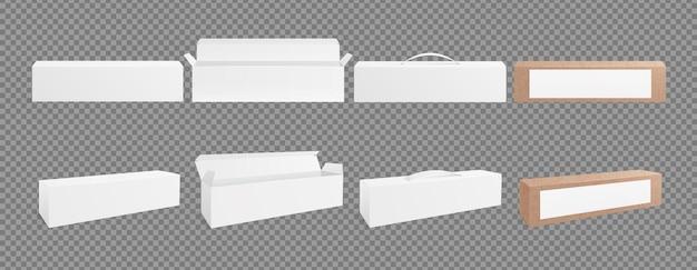 Makieta pudełek 3d. puste opakowanie kartonowe, białe i realistyczne opakowanie. na białym tle otwarte, zamknięte i opakowanie z ilustracji wektorowych uchwyt. pudełko kartonowe, makieta opakowania i realistyczny pojemnik