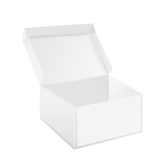 Makieta pudełek. otwarte i zamknięte realistyczne białe opakowanie kartonowe, szablon projektu papierowego pudełka