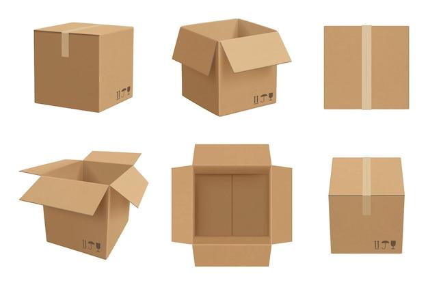 Makieta pudełka. otwarte i zamknięte opakowanie kartonowe wektor realistyczny szablon. ilustracja realistyczny karton i opakowanie puste