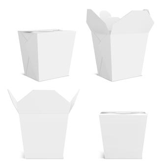 Makieta pudełka woka, pusty pojemnik na jedzenie na wynos. pusta torba na chiński posiłek, makaron lub fastfood widok z przodu i rogu. papier zamyka i otwiera realistyczny szablon 3d na białym tle