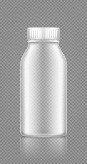 Makieta pustej plastikowej przezroczystej butelki na sok z mleka jogurtowego