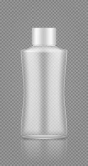 Makieta pustej plastikowej przezroczystej butelki na szampon kosmetyczny, balsam, krem, żel pod prysznic
