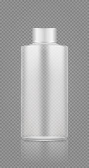 Makieta pustej przezroczystej butelki na szampon, żel, piankę do kąpieli