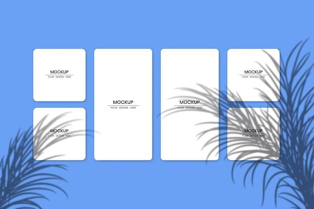 Makieta pustych kart z białego papieru z efektem nakładki cienia
