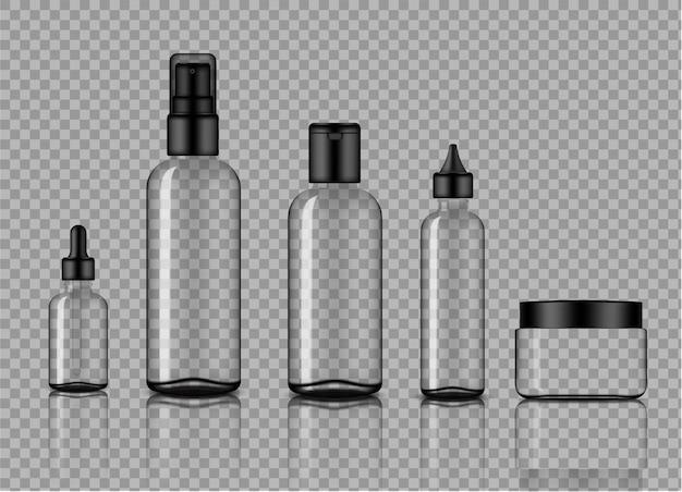 Makieta realistyczne przezroczystego szkła kroplomierzem i sprayem produktów do pielęgnacji skóry
