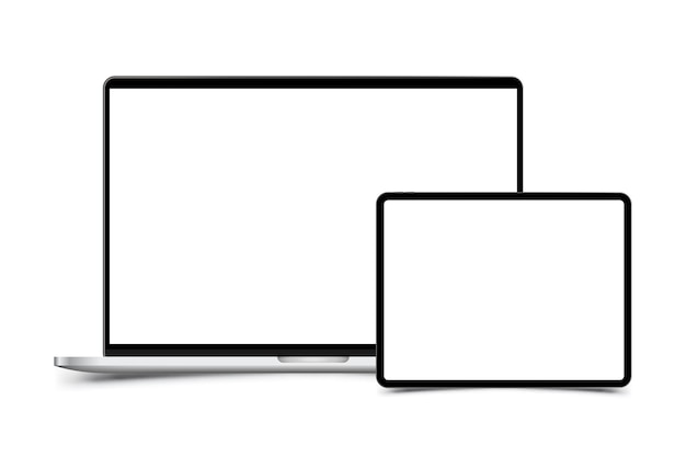 Makieta realistycznego laptopa z tabletem. przednia strona z izolowanym ekranem