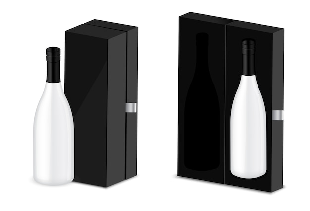 Makieta realistyczny premium butelka wina alkoholu, luksusowe pudełko tło opakowania