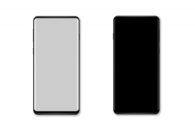 Makieta realistyczny smartfon na białym tle