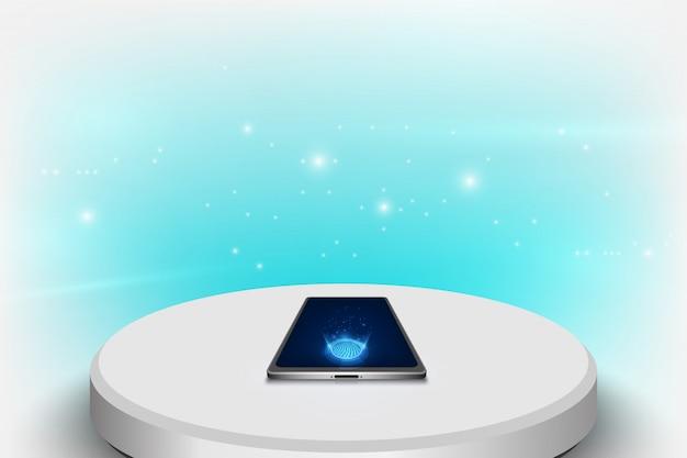Makieta realistyczny smartphone z futurystyczną koncepcją technologii, abstrakcyjne tło telefonu komórkowego.