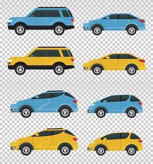 Makieta samochodów kolory niebieski i żółty na białym tle.