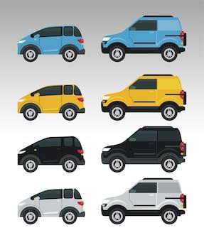 Makieta samochodów zestaw kolorów na białym tle.