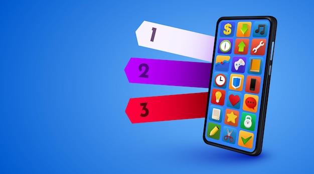 Makieta smartfona z trzema opcjami koncepcji informacji mobilnych