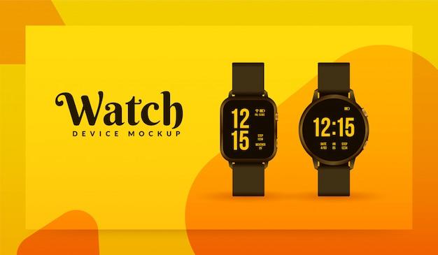 Makieta smartwatcha na żółtym tle, projekt akcesoriów sportowych