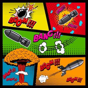 Makieta strony komiksu z kolorowym tłem. bomba, dynamit, eksplozje. element plakatu, karty, druku, banera, ulotki. wizerunek