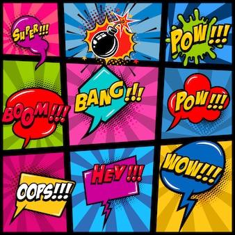 Makieta strony komiksu z kolorowym tłem. pop-artowe dymki. element plakatu, karty, druku, banera, ulotki. wizerunek