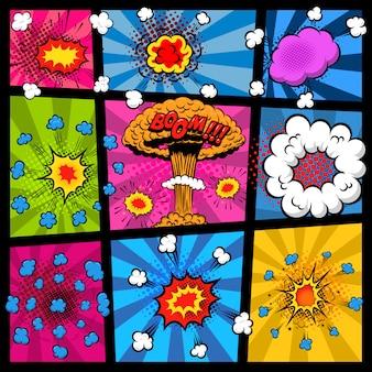 Makieta strony komiksu z różnymi bąbelkami eksplozji. element plakatu, druku, karty, banera, ulotki. wizerunek