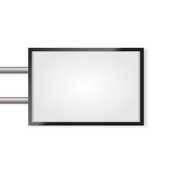 Makieta szyld 3d na białym tle. podświetlany lightbox z pustą przestrzenią do projektowania