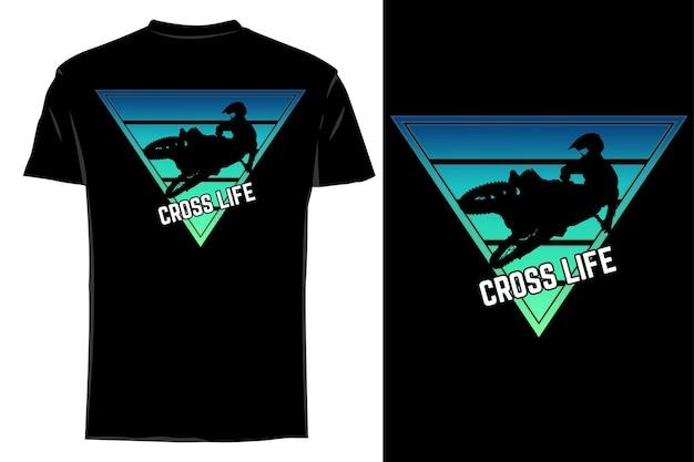 Makieta t-shirt sylwetka cross life retro vintage