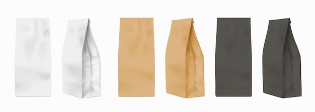 Makieta torby papierowej. realistyczne białe, czarne i brązowe opakowania na mąkę, ciastka lub herbatę. widok z przodu i widok profilu etui na kawę, wektor zestaw. pudełko do pakowania, makiety ilustracji opakowania kartonowego