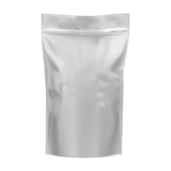 Makieta torebki z kawą. torebka z folii spożywczej. 3d wektor paczka