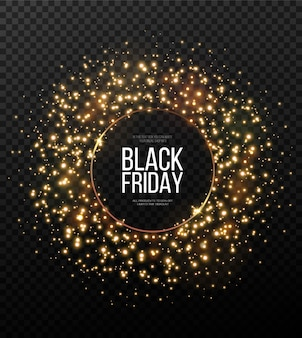 Makieta transparent czarny piątek. świąteczna złota, świecąca ramka usiana złotym pyłem.