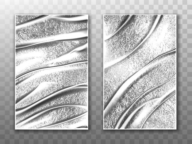 Makieta wektor arkuszy folii, srebrna folia stretch