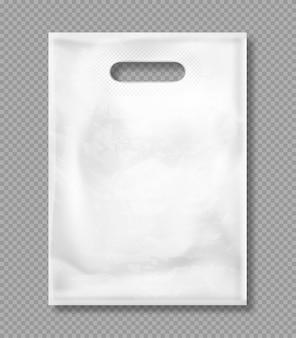 Makieta wektor białej plastikowej torbie