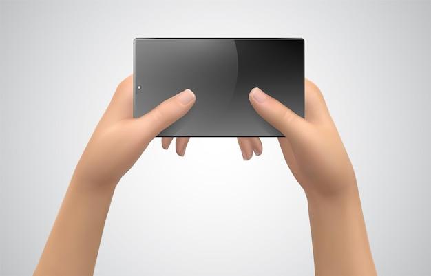 Makieta wektor z miejscem na tekst, ręce trzymają widok z góry telefonu