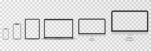 Makieta wektorowa ekranu makieta monitora telefonu laptop smartfon z pustym ekranem png