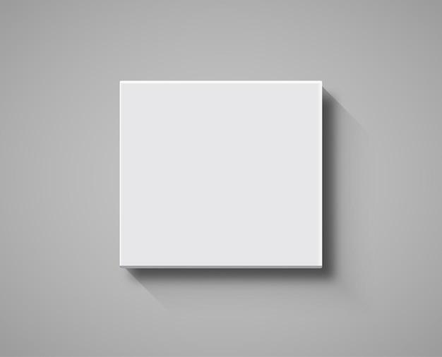 Makieta widok z góry białe pudełko. pakiet 3d pusty szablon na białym tle projekt pudełka.
