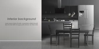 Makieta wnętrza pokoju kuchni z urządzeń gospodarstwa domowego