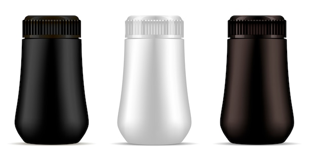 Makieta z czarnej, brązowej i białej plastikowej butelki.