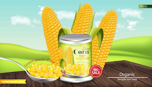 Makieta z kukurydzy konserwowanej