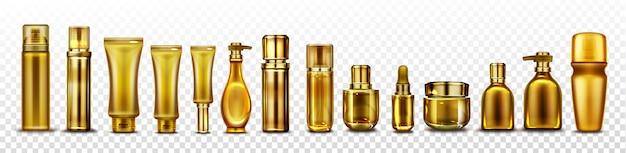Makieta złotych butelek kosmetycznych, złote tuby kosmetyków na esencję,