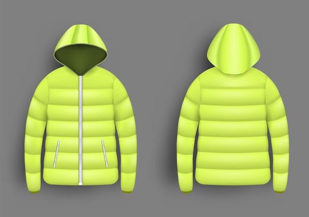 Makieta żółtej kurtki puchowej zestaw ilustracji wektorowych na białym tle realistyczna nowoczesna kurtka puchowa z...