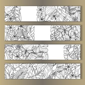 Makiety kwiatów tropikalnych zestaw zarys zaproszenia urodzinowe z życzeniami z miejscem na tekst