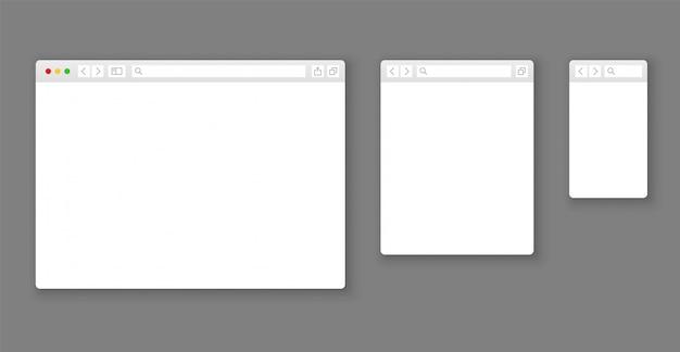 Makiety przeglądarek. strona internetowa różne urządzenia okno internetowe ekran mobilny internet płaski szablon pusta strona zestaw wierszy sieciowych