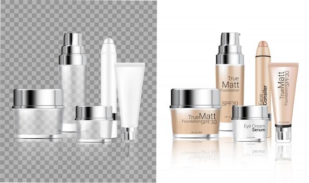 Makiety realistyczne przezroczyste butelki kosmetyczne