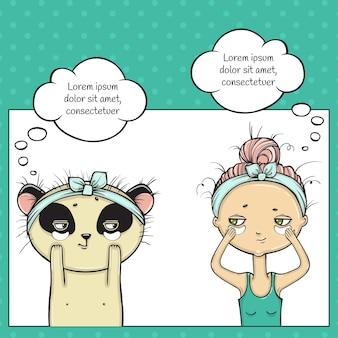 Makijaż dziewczyny i pandy, bańka myślenia pop-artu.