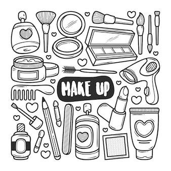 Makijaż ikony ręcznie rysowane doodle kolorowanki