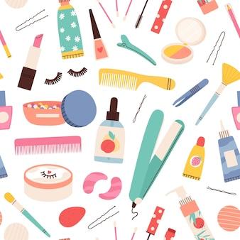 Makijaż kosmetyczny wzór. kosmetyczne produkty do pielęgnacji skóry i włosów. wektor butelki z rzęsami, szminką, tuszem do rzęs i kremem. ilustracja krem bezszwowy wzór butelki, podstawa do pielęgnacji skóry