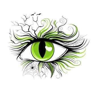 Makijaż oczu na halloween, wektor ilustracja na białym tle.