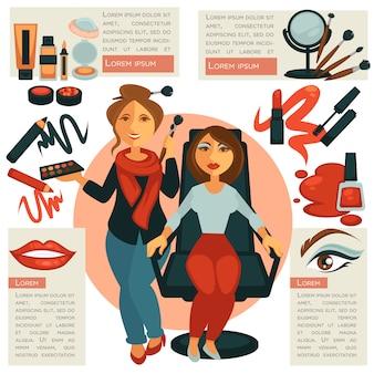 Makijaż salon lub visagiste zawód wektor plakat.