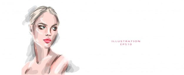 Makijaż twarzy pięknej kobiety. moda dziewczyna z zadymionych oczu, różowe usta i rumieniec portret rysunek na białym tle