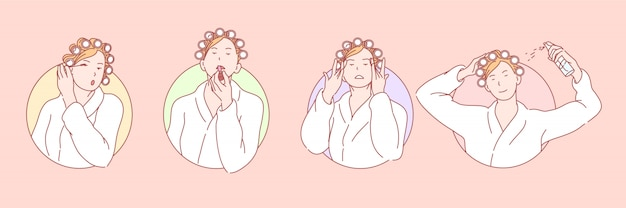 Makijaż, uroda, kosmetologia zestaw ilustracji