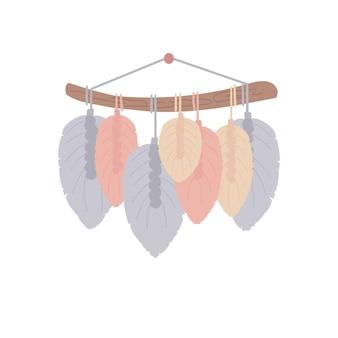 Makrama z motywem liści z bawełnianego sznurka