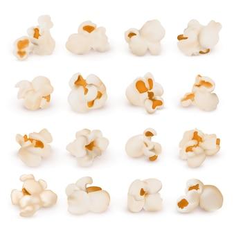 Makro realistyczny popcorn na białym tle wektor zestaw. popcorn przekąska, realistyczna ilustracja żywienia