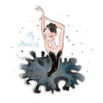 Mała baletnica. młoda księżniczka. dziewczyna w tutu.