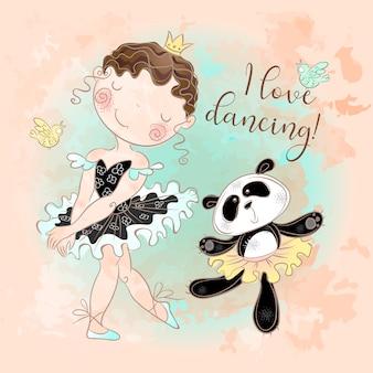 Mała baletnica tańczy z baleriną panda. kocham tańczyć.