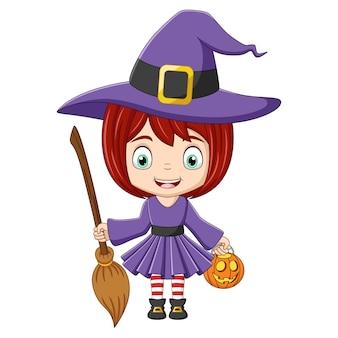 Mała czarownica dziewczyna i miotła na białym tle kreskówki